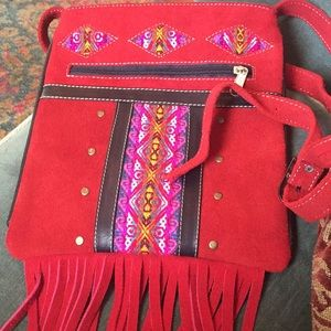Boho Very nice red suede purse